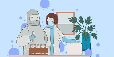 médico y equipo encontraron virus corona, vacuna covid-19 vector