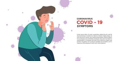 A man got symptom corona virus, covid -19 vector