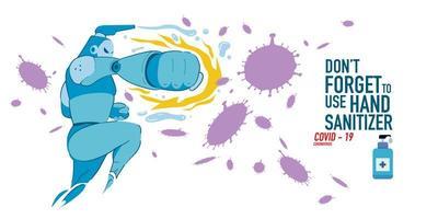 Cartoon Illustration of hand sanitizer superhero attack corona virus vector