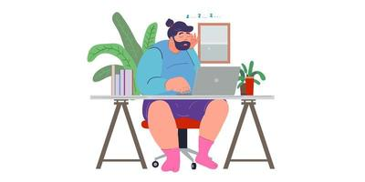 a man working from home preventing from corona virus vector