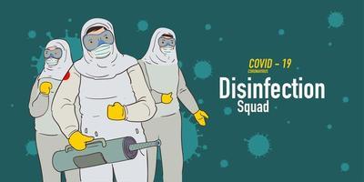 Illustration of disinfection team attack corona viruses vector
