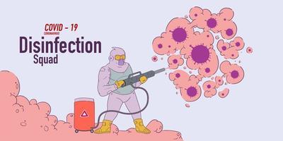 Illustration of disinfection team attack corona viruses, covid - 19 vector