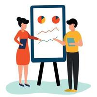 Presentation of a new business project on a chalkboard - Vector