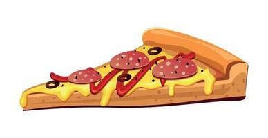 Pizza with pepperoni and various sauces and cheese vector