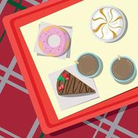 Set of sweets lying on a tray, checkered tablecloth - Vector