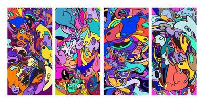 Vector colorful abstract doodle