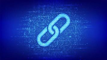 Link icon made with binary code. Blockchain technology. Cooperation vector