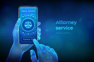 Labor law, Lawyer Attorney at law, Legal advice concept on smartphone vector