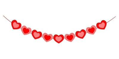 Heart bunting. Garland for Valentine day party vector