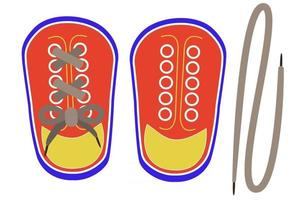 Lacing threading toy shoes. Montessori toy vector