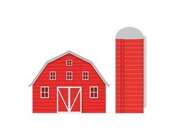 Red wooden barn and agricultural silo for grain storage vector