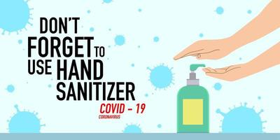 Print Illustration of people using hand sanitizer vector