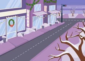 Winter city street flat color vector illustration