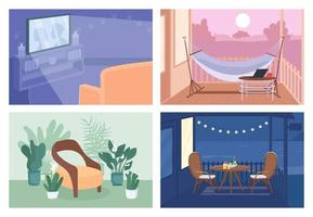 Home recreation flat color vector illustration set