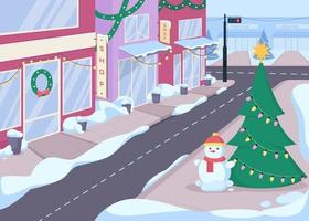 Winter city street with boutiques flat color vector illustration