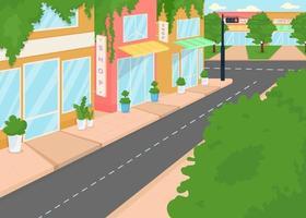 Summer city street flat color vector illustration