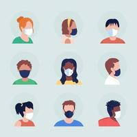 Face covering semi flat color vector character avatar with mask set