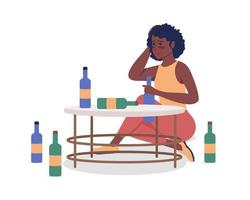Alcoholic woman semi flat color vector character