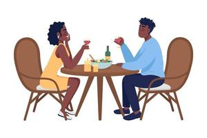 Couple on romantic dinner semi flat color vector characters