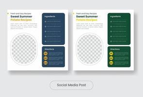 Summer recipes social media post banner template set vector