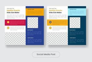 Healthy snack social media post banner template set vector