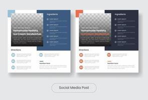 Ice creame recipes social media template banner post set vector