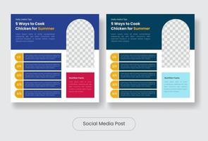 Culinary food tips social media post banner template set vector