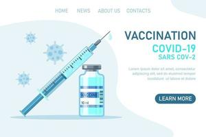 Covid-19 corona virus vaccination with vaccine bottle and syringe vector
