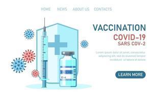 Covid-19 corona virus vaccination with vaccine bottle, shield, syringe vector
