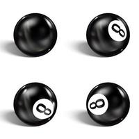Set of realistic 8 ball Isolated on a white background vector