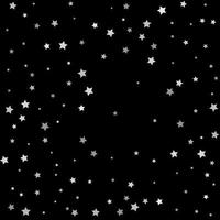Silver sparkle star on black background Starry confetti vector