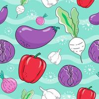 Seamless pattern vegetables vector