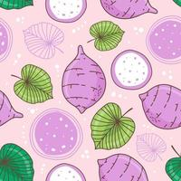 Seamless pattern taro with leaf on pink pastel background vector