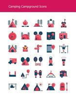 flat camping gear campground icons vector