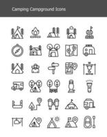 simple line camping gear campground icons pack vector