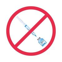 Anti-vax movement symbol. Syringe in prohibition sign vector