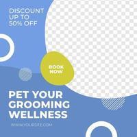 Pet care service sale discount social media post template minimalis vector