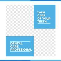 cartel de cuidado de los dientes dentales en las redes sociales vector