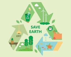 Los iconos de medio ambiente están organizados dentro de la marca de reciclaje. vector