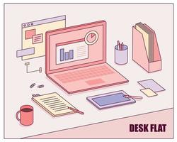 Laptop and office supplies on the desk. vector