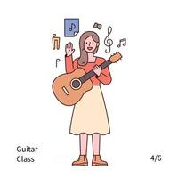 A woman is standing with a guitar and musical note. vector