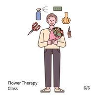 A man is holding a bouquet of flowers and doing flower therapy. vector