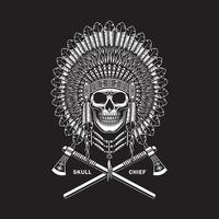 American Indian Chief Skull With Crossed Tomahawks On Black vector