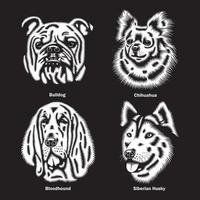 Dog Heads of different Breeds Vector Illustration On Black