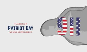9 11 Patriot Day In Paper Style vector
