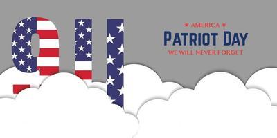 9 11 Patriot Day Banner Cloud vector