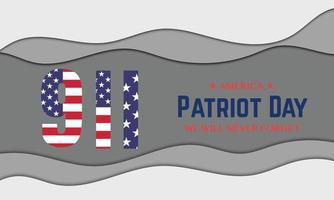 9 11 America Patriot Day Papercut vector