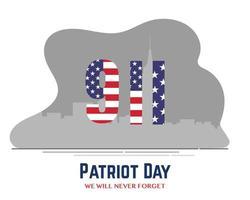 9 11 America Patriot Day Flag Flat vector