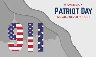 9 11 America Patriot Day Greeting Banner vector