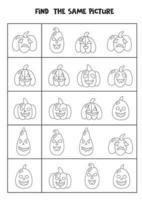 Encuentra dos calabazas de Halloween iguales. hoja de trabajo en blanco y negro. vector
